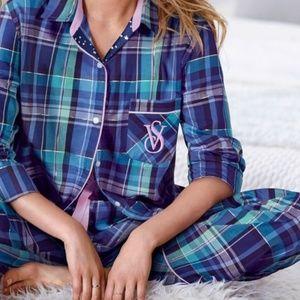 VS plaid blua pajama set